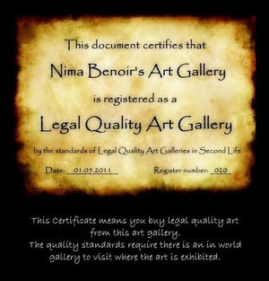Photo of Legal Quality Art Galleries Certificate